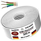 Netsnoer voor vochtige ruimtes stroomkabel 5, 10, 15, 20, 25, 30, 35, 40, 50, 60, 70, 75, 80, 90 of 100 m mantel, NYM-J 3x1,5