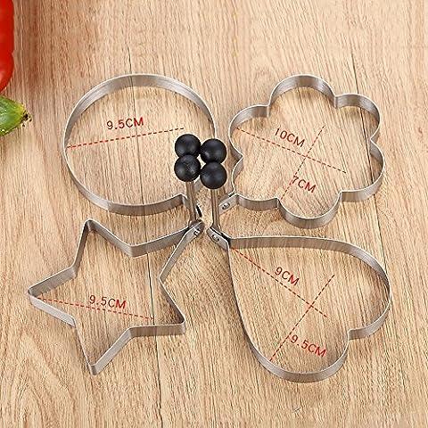 Acciaio inossidabile Frittata Uovo fritto muffa della torta di amore del cuore di figura 4 pezzi set da cucina fai da te Gadget