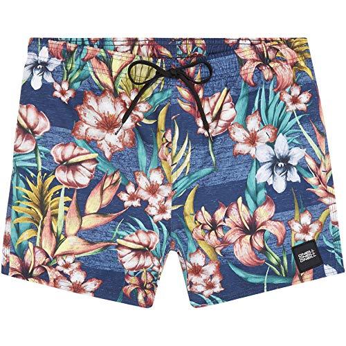 O'Neill Herren PM Summer-Floral Badehose, Blau All Over Print mit Gelb/Orange, M -