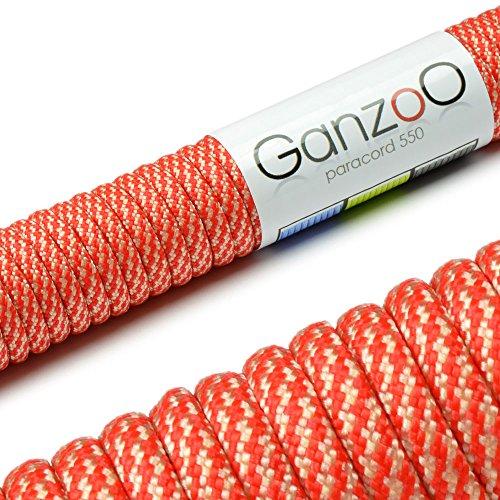 Paracord 550 Seil, 31 Meter, für Armband, Knüpfen von Hundeleine oder Hunde-Halsband zum selber machen / Seil mit 4mm Stärke / Mehrzweck-Seil / Survival-Seil / Parachute Cord belastbar bis 250kg (550lbs), Farbe: rot, weiß 2, Marke Ganzoo