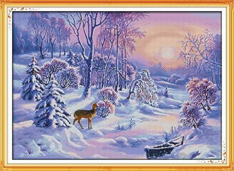 YEESAM ART Neu Kreuzstich Stickpackung - Weihnachten Snowy Wald Bear