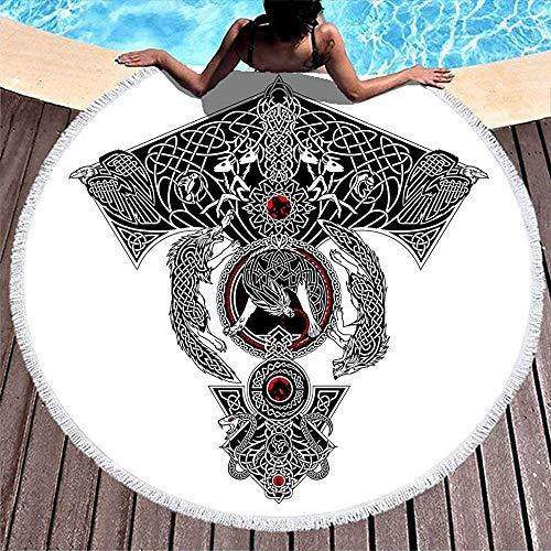 Leo-Shop Nordische Wikinger Wolf Schlange Rabe Deer Knot Tattoo PrintRound Strandtuch mit QuastenRound Fringe Beach Throw Beach Cover