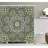 "KYCD Arabesque Tenda Doccia, Marocchina Etnici mediorientali Tradizionali orientali Vintage Mosaico Arabo Motif, Tessuto arredo Bagno Insieme con Ganci, 72""x80"""