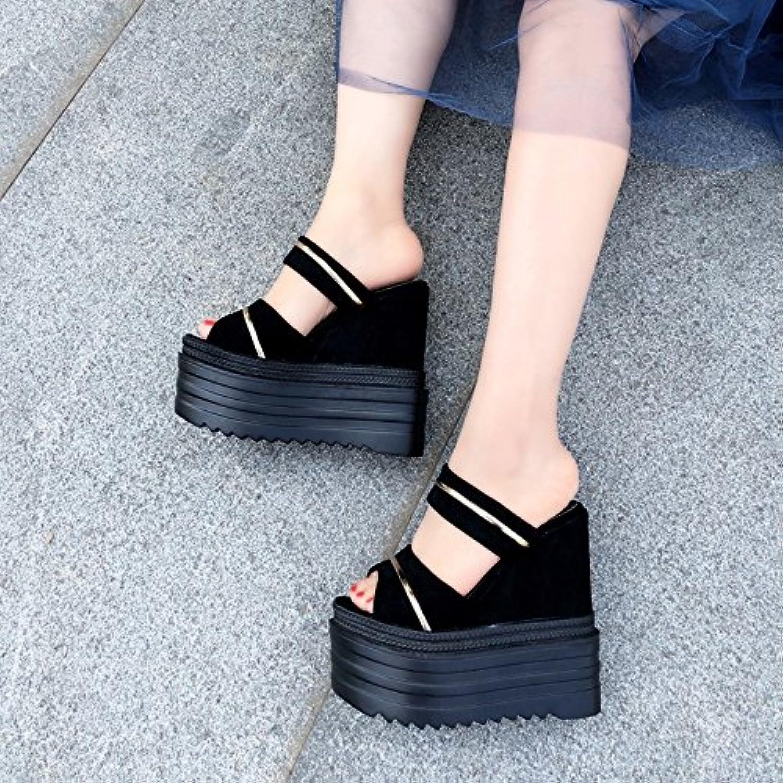 XiaoGao 14 centimetros de fondo plano zapatillas sandalias con,9908-2 negro -