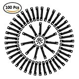 TIMESETL 100er Bildaufhänger Zackenaufhänger mit Schrauben Sägezahn Aufhänger Doppel-Loch Bilderrahmenaufhänger für Bilderrahmen in Schwarz - 100 Stück