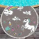 SATAJNN Toalla de Playa Tovaglietta rotonda arcobaleno Unicorn Tassel per Bambini Yoga Mat Asciugamano per cartoni