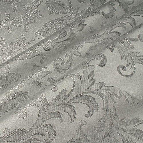 Stoff Polyester Jacquard Ornament weiß silber Lurex Silberbrokat Barock 300 cm