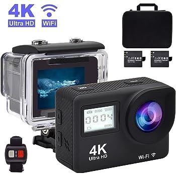 Accfly Action Cam 4K WIFI 1080P Telecamera Sportiva 12MP Custodia Impermeabile Subacqueo Action Sport Camera, 170° Grandangolare,Schermo da 2.0 pollici Full HD,2 Batterie da 900mAh,Kit Accessori per