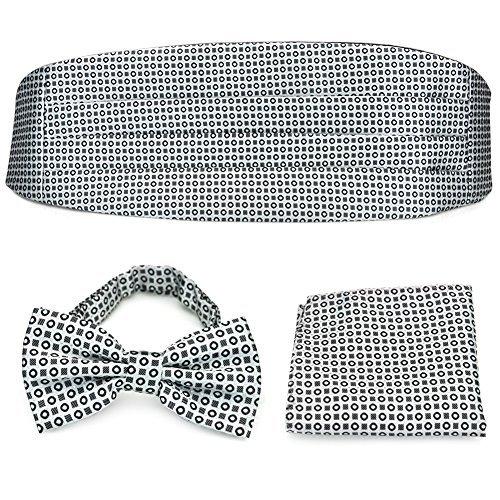 PenSee Set aus vorgebundener Fliege, Einstecktuch und Kummerbund, formal, geometrisches Muster, silbergrau / Schwarz