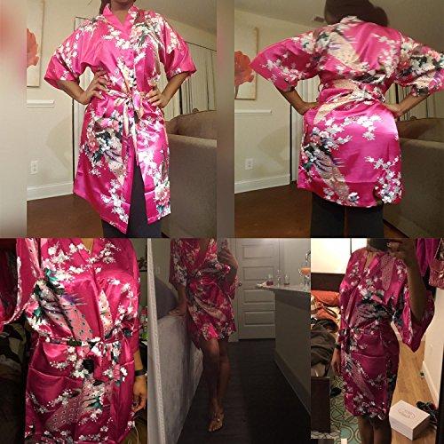 Hammia Damen Morgenmantel Kimono Satin Kurz Nachtwäsche Bademantel Robe Schlafanzug Mit Peacock Rose Red