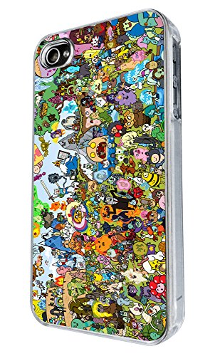 Für alle iPhone 6 iPhone 4 4S iPhone 5 5S iPhone 5 C Cool Funky adventure Time Cartoon Funny Design Fashion Trend Hülle Case Back Cover Metall und Kunststoff transparenter Rahmen) (Bitte wählen Sie Ihr Handy Modell aus der Auswahlfeld unter), Clear Frame, iPhone 4 / 4S