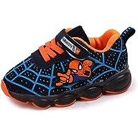 Scarpe Luminose A LED Per Bambini Sneakers Luminose Ragazzo Ragazza Bambino Nuovo Spiderman (Azul,21EU)