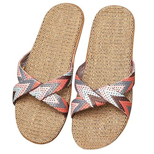 Eizur Ciabatte Antiscivolo Punta Aperta Pantofole Lino Sandali Scarpe Piatte Scarpe da spiaggia Ciabatte da Piscina Doccia Casuali Scarpe Tipo 3