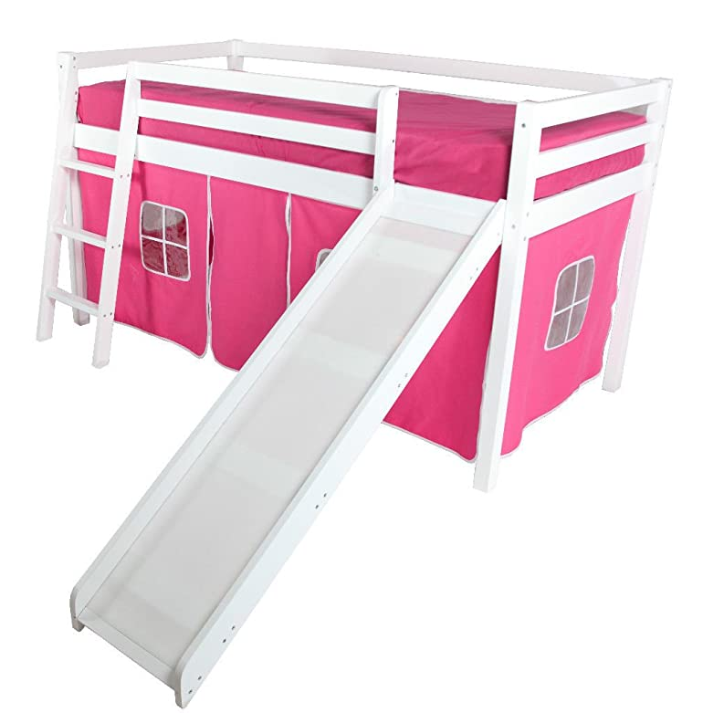 beddybows cabin bed mid sleeper loft bunk tent curtain only pink amazoncouk kitchen u0026 home