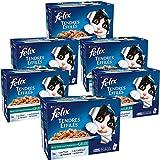 FELIX Tendres Effilés en Gelée Poissons - 12x100 g - pour chat adulte - Lot de 6
