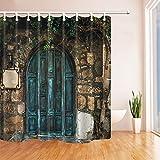 cdhbh Retro Vintage Decor Altem Holz Tür für Stone House Vorhang für die Dusche in Badewanne 180,3x 180,3cm Polyester-Schimmelresistent-Badezimmer Fantastische Dekorationen Bad Vorhänge Haken im Lieferumfang enthalten