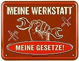 empireposter Meine Werkstatt - Blech-Schild Spruch - Blechschild 22x17 cm