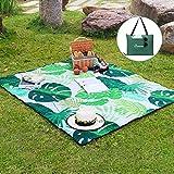 WolfWise 180 x 150 cm Waschbare Picknickdecke, wasserdicht, faltet sich in eine Tragetasche