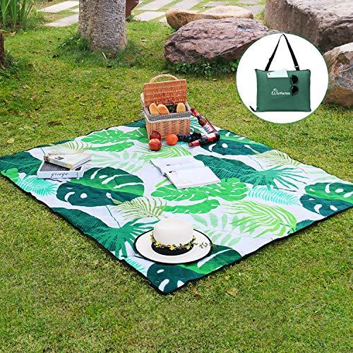 WolfWise 180 x 150 cm Waschbare Picknickdecke, wasserdichte Campingdecke Stranddecke Outdoordecke Faltet Sich in eine Tragetasche, Bananenblatt