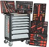 Ultra Black Red Edition Werkstattwagen | 7 Schubladen - 5 gefüllt mit Handwerkzeug | Werkzeugwagen abschließbar + COB Akku Arbeitsleuchte