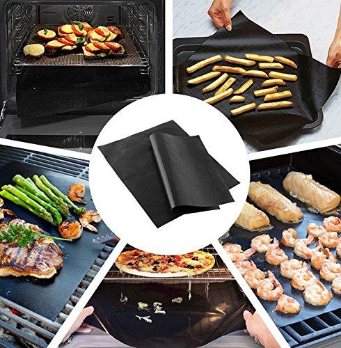 BBQ Grill Mat antiaderente, riutilizzabile & SOONHUA-Tappetino da forno, resistente al calore, resistente e facile da lavare, senza PFOA, confezione da 2 2pcs/Set