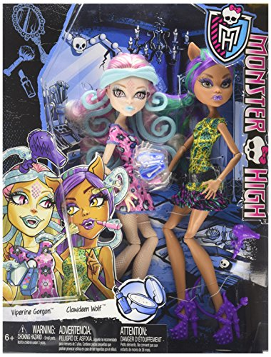 Monster High Scare and Makeup Viperine Gorgon and Clawdeen Wolf 2 Doll (Up Monster Make High Sets)