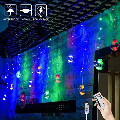 BLOOMWIN USB Lichtervorhang 3x0,65M 120LEDs Kugel Lichterkette Bunt Weihnachtsbeleuchtung Stimmungslichter innen für Fenster Weihnachten Party Feiertage Fensterdeko Dekobeleuchtung