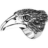 Aienid Anelli in Acciaio Uomo Argento Nero Eagle with Black Zirconia Aquila con Zirconia Nera Anello per Uomo