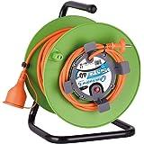 Electraline 20866138G Rallonge Prolongateur Jardín 40 m avec enrouleur 16A - Section 2x1,5 mm² Orange/Vert