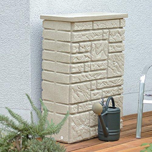 Regentonne eckig Regenwassertank Maurano 300 Liter sandstein aus UV- und witterungsbeständigem Material. Regenfass bzw. Regenwassertonne mit kindersicherem Deckel und hochwertigen Messinganschlüssen