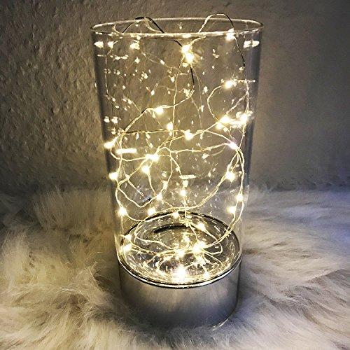 Preisvergleich Produktbild 3 Stück 30er Lichterkette batteriebetrieben mit LEDs in warmweiß transparent Kette wasserfest Draht