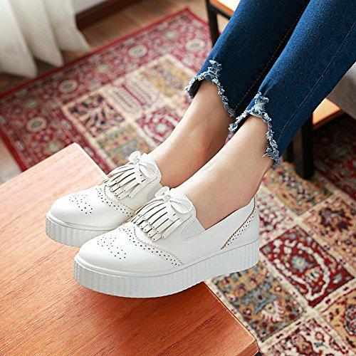 Mee Shoes Damen bequem Schleife runde Plateauschuhe Weiß