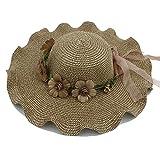 Elegante gorra de flores para damas de mujer grandes olas de ala ancha verano informal Hawaii Beach Travel Sombrero de paja de flores vintage con flor y cinta DuoShengZhTG ( Color : Coffee , Size : 58cm )