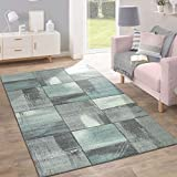 Paco Home Kurzflor Teppich Trendige Pastellfarben Modernes Triangel Design Türkis Grau, Grösse:120x170 cm