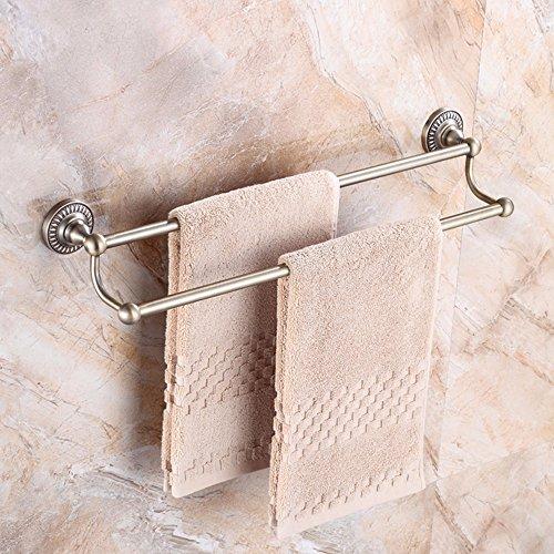 MBYW Handtuchhalter Bad Handtuchhalter Ablagefach Doppel-Handtuchhalter im europäischen Stil aus grüner Bronze, doppelte Ablage für Badetuchhalter aus gebürstetem Bronze, 50 cm