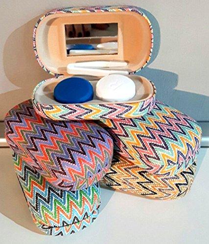 TxT Astuccio rigido per lenti a contatto con specchio e pinzette dimensione 9x5x2h cm vari colori