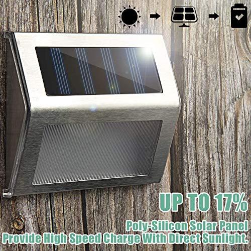 GIGALUMI 6 Pack Solar Treppenleuchten 3 LED Solar Wandleuchte Wegeleuchte Außenbeleuchtung Edelstahl Wasserdicht für Außenwand, Garten, Terrasse, Hof, Gehweg, Zaun