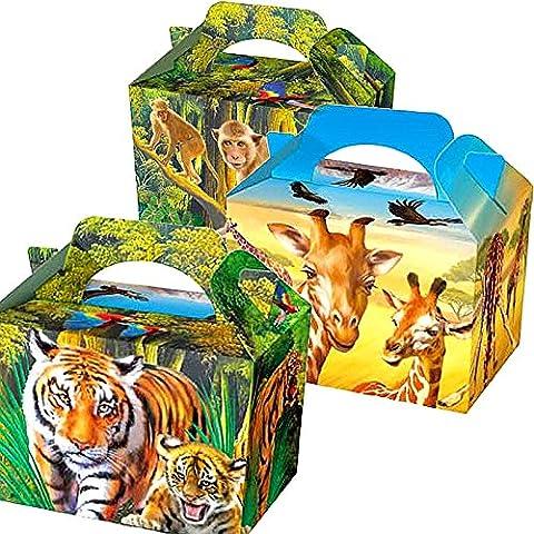 German Trendseller® - 8 x boîtes en carton avec des animaux de jungle┃ Party Box ┃avec poignée ┃pour remplir┃ des animaux de safari┃ pochette surprise┃l'anniversaire