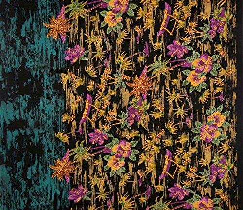 Indian Designer Schwarz Fabrics 44 Weitblumenmuster Nähen Stoff von der Werft -