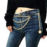 Juland Multicapa Cadena de la Cintura de la aleación Cadena del Cuerpo para Cinturón Dorado para Mujer Cadena Colgante del Vientre Arnés de Cuerpo Ajustable para Vestidos de Jeans - Cabeza de león