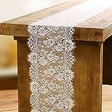 OurWarm weiß Spitze Tischläufer Blumenmuster und Fransen Vintage Hochzeit Party Dekoration zu Hause 35cm x 300cm