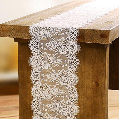 OurWarm Baby weiß Spitze Tischläufer Blumenmuster und Fransen Vintage Hochzeit Party Dekoration zu Hause 35cm x 300cm (Spitze Fransen)