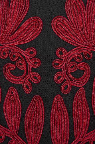 Roman Originals - Robe Femme Broderie Col Haut - Rouge Rouge