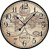 Mancru 1cm Dicke Jahrgang große Runde Wanduhr Stille Keine tickende dekorative Wanduhr 6-60CM