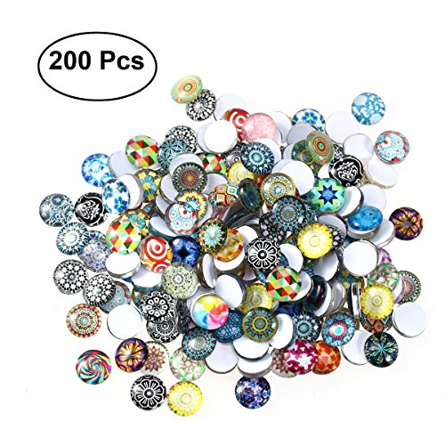 ULTNICE 200pcs Cabochons Round Mosaic Tiles for Crafts Glass Mosaic Supplies for Jewelry Making