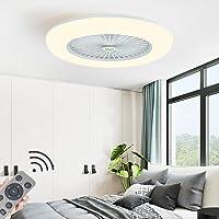 HYKISS LED Fan Plafonnier Moderne Nordique Dimmable Ventilateur Au Plafond avec Lampe Ultra-Mince Invisible 32W Lustre…