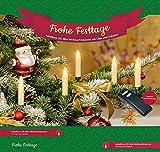 LED Weihnachtskerzen mit Tropfen 20er Set mit Zubehör + Fernbedienung, kabellose Weihnachtsbaumbeleuchtung