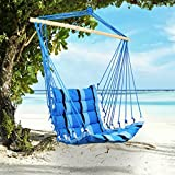 Holifine Swing Hängesessel Hängesitz Hängestuhl mit Gestreift inkl. Querholz, für Outdoors Camping Garten Strand Reise, Belastbarkeit bis 100 kg - Blau