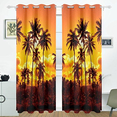 JSTEL Palm Tree Sunset Vorhänge Panels Verdunklung Blackout Tülle Raumteiler für Terrasse Fenster Glas-Schiebetür Tür 139,7x 213,4cm, Set von 2 -