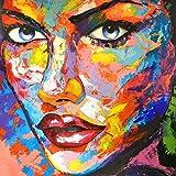 KUNST DRUCK Gemälde Leinwand modern abstrakt Bild 847 Portrait SIGNIERT 60x60